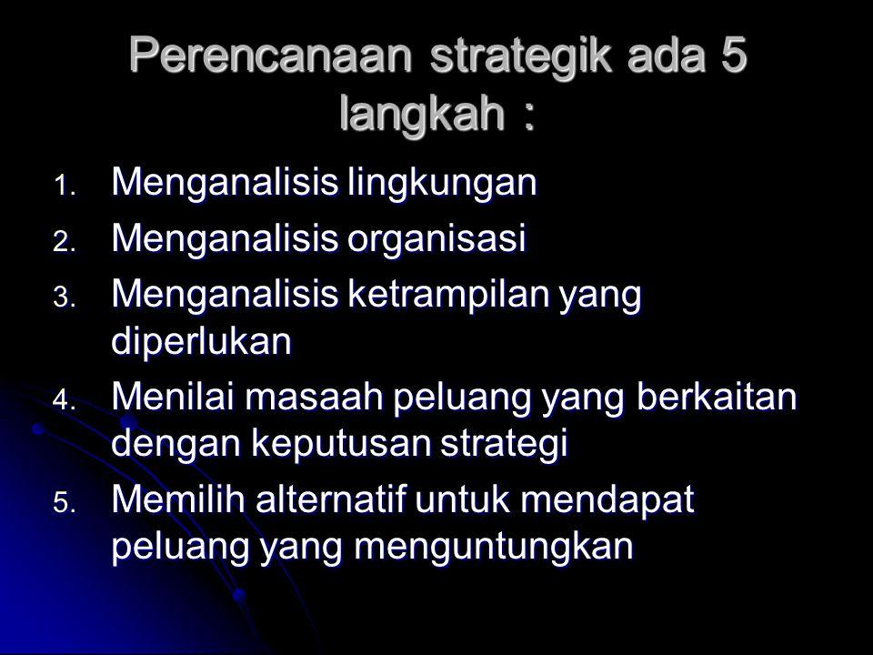 Perencanaan strategik ada 5 langkah : 1. Menganalisis lingkungan 2. Menganalisis organisasi 3. Menganalisis ketrampilan yang diperlukan 4. Menilai mas