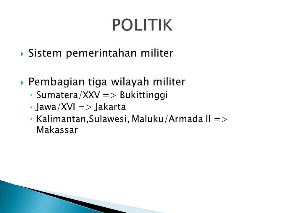  Sistem pemerintahan militer  Pembagian tiga wilayah militer ◦ Sumatera/XXV => Bukittinggi ◦ Jawa/XVI => Jakarta ◦ Kalimantan,Sulawesi, Maluku/Armad