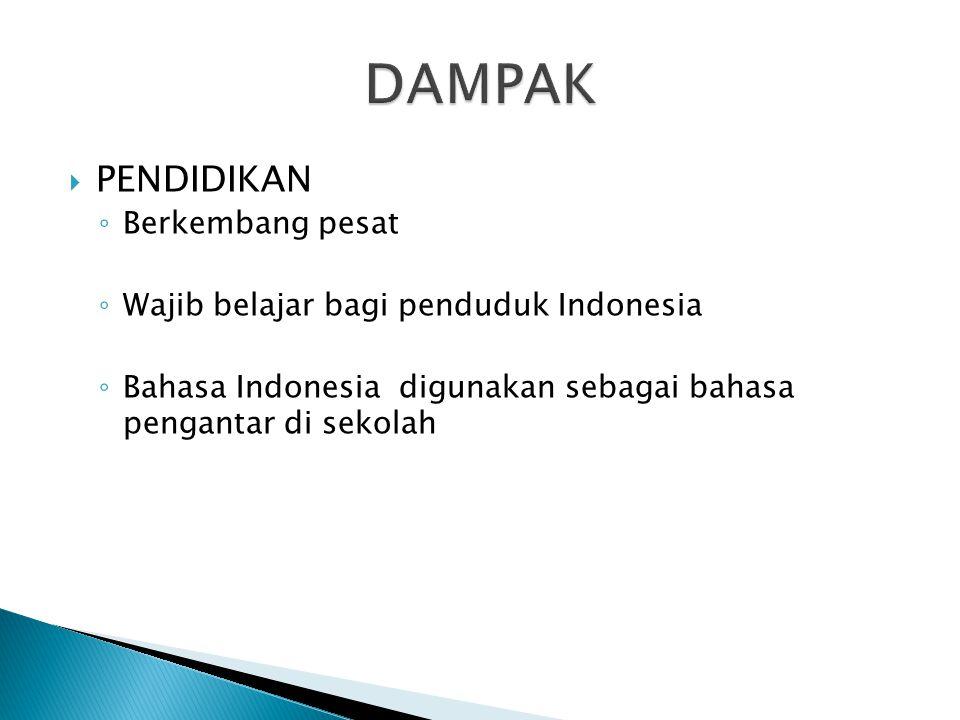  PENDIDIKAN ◦ Berkembang pesat ◦ Wajib belajar bagi penduduk Indonesia ◦ Bahasa Indonesia digunakan sebagai bahasa pengantar di sekolah