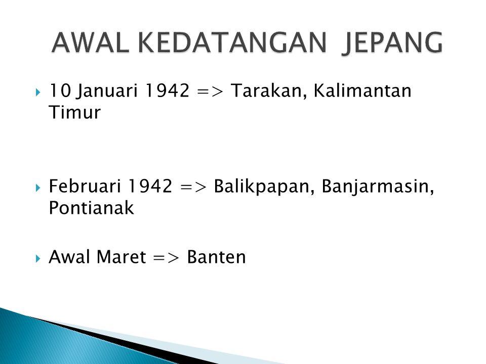  10 Januari 1942 => Tarakan, Kalimantan Timur  Februari 1942 => Balikpapan, Banjarmasin, Pontianak  Awal Maret => Banten