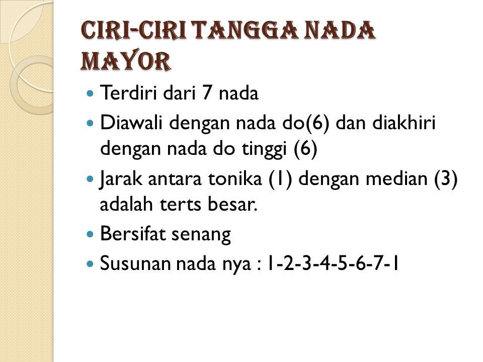 Ciri-ciri Tangga Nada Mayor Terdiri dari 7 nada Diawali dengan nada do(6) dan diakhiri dengan nada do tinggi (6) Jarak antara tonika (1) dengan median