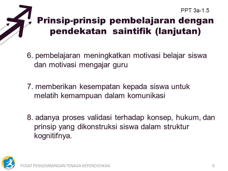 PUSAT PENGEMBANGAN TENAGA KEPENDIDIKAN5 Prinsip-prinsip pembelajaran dengan pendekatan Saintifik 1.pembelajaran berpusat pada siswa 2.pembelajaran mem