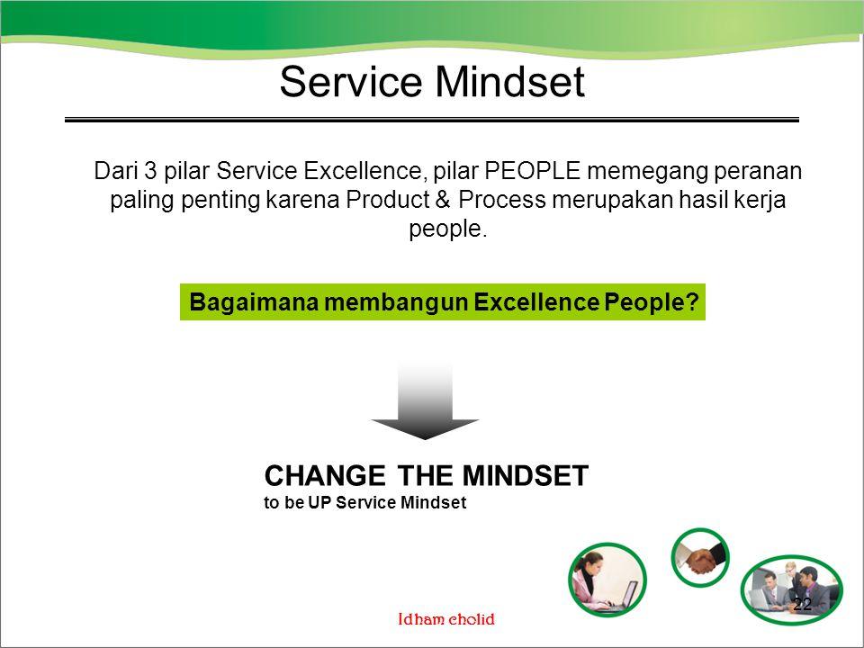 Idham cholid Service Mindset Dari 3 pilar Service Excellence, pilar PEOPLE memegang peranan paling penting karena Product & Process merupakan hasil ke