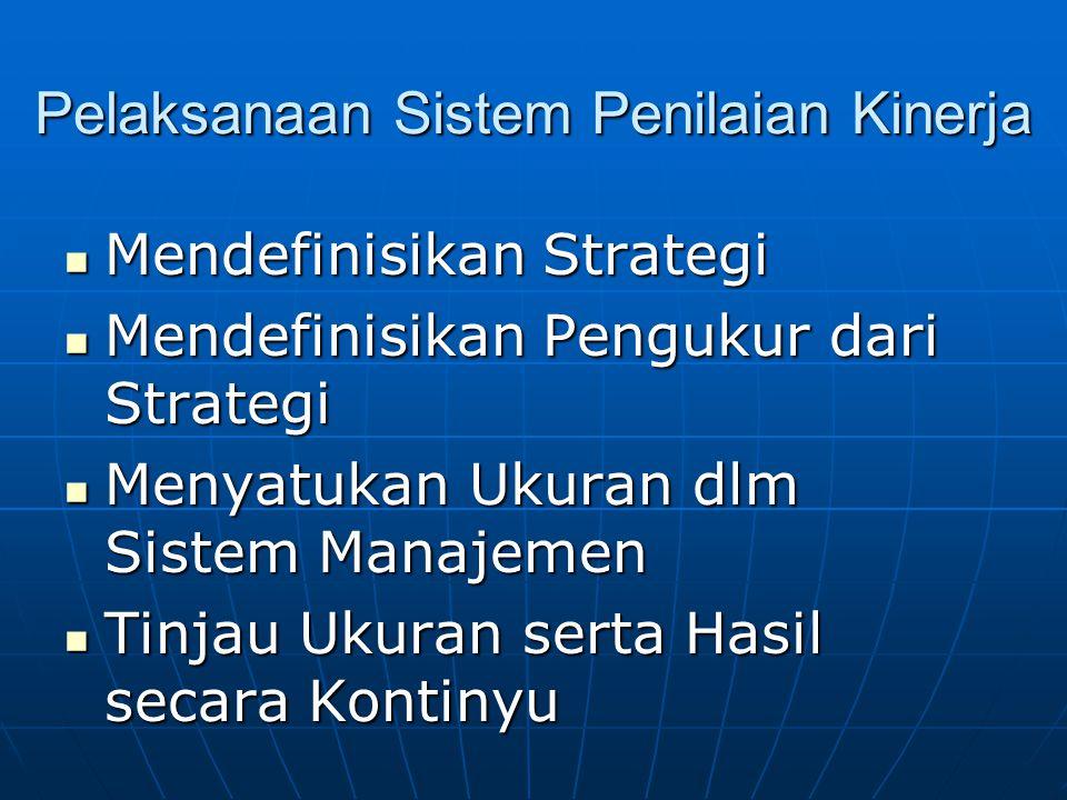 Pelaksanaan Sistem Penilaian Kinerja Mendefinisikan Strategi Mendefinisikan Strategi Mendefinisikan Pengukur dari Strategi Mendefinisikan Pengukur dari Strategi Menyatukan Ukuran dlm Sistem Manajemen Menyatukan Ukuran dlm Sistem Manajemen Tinjau Ukuran serta Hasil secara Kontinyu Tinjau Ukuran serta Hasil secara Kontinyu