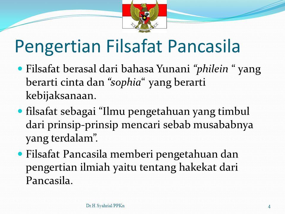 Pengertian Filsafat Pancasila Filsafat berasal dari bahasa Yunani philein yang berarti cinta dan sophia yang berarti kebijaksanaan.