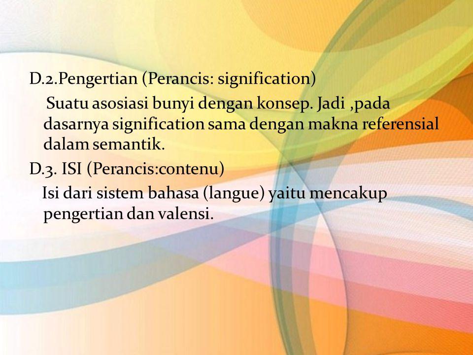 D.2.Pengertian (Perancis: signification) Suatu asosiasi bunyi dengan konsep. Jadi,pada dasarnya signification sama dengan makna referensial dalam sema