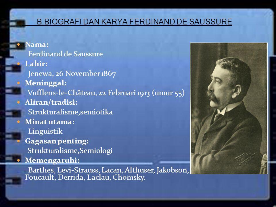 Nama: Ferdinand de Saussure Lahir: Jenewa, 26 November 1867 Meninggal: Vufflens-le-Château, 22 Februari 1913 (umur 55) Aliran/tradisi: Strukturalisme,
