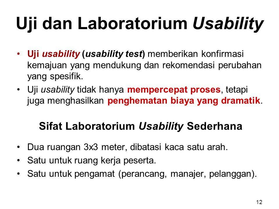 Uji dan Laboratorium Usability Uji usability (usability test) memberikan konfirmasi kemajuan yang mendukung dan rekomendasi perubahan yang spesifik. U