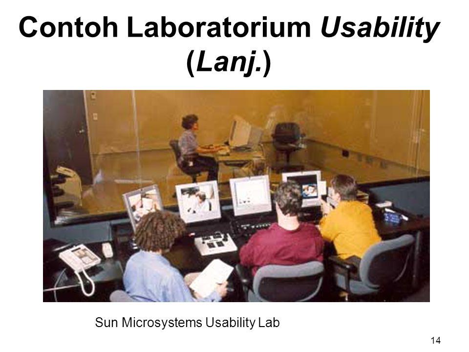 Contoh Laboratorium Usability (Lanj.) Sun Microsystems Usability Lab 14