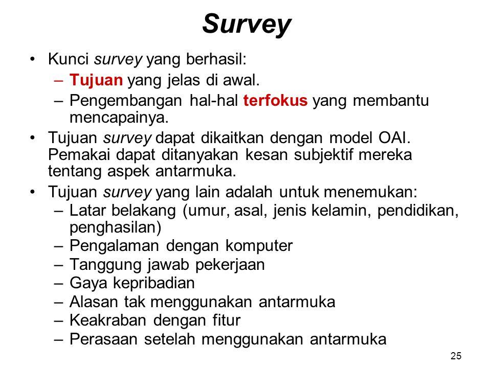 Survey Kunci survey yang berhasil: –Tujuan yang jelas di awal. –Pengembangan hal-hal terfokus yang membantu mencapainya. Tujuan survey dapat dikaitkan