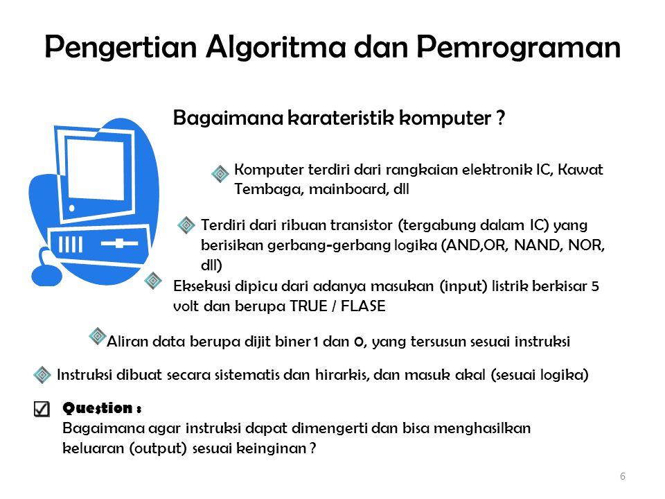 Pengertian Algoritma dan Pemrograman Dari pertanyaan yang diajukan, ada suatu hipotesa : – Untuk menyelesaikan suatu permasalahan pasti harus memiliki alur yang jelas dan tepat.