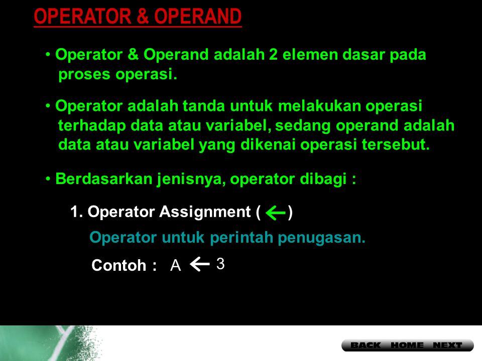 13 OPERATOR & OPERAND Operator & Operand adalah 2 elemen dasar pada proses operasi.