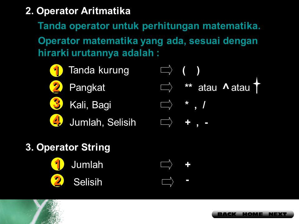 14 Tanda operator untuk perhitungan matematika.2.