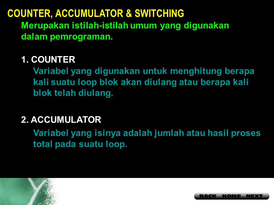 17 COUNTER, ACCUMULATOR & SWITCHING Merupakan istilah-istilah umum yang digunakan dalam pemrograman.