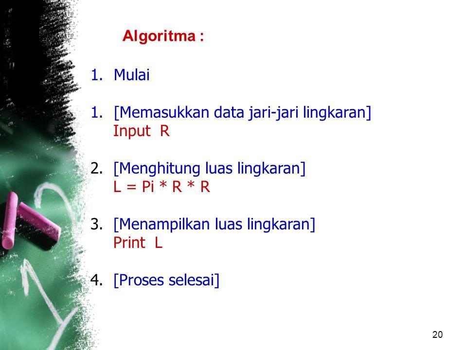 20 Algoritma : 1.Mulai 1.[Memasukkan data jari-jari lingkaran] Input R 2.