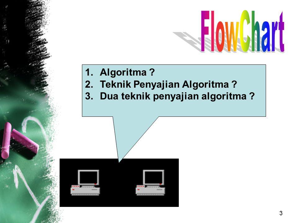 3 1.Algoritma ? 2.Teknik Penyajian Algoritma ? 3.Dua teknik penyajian algoritma ?