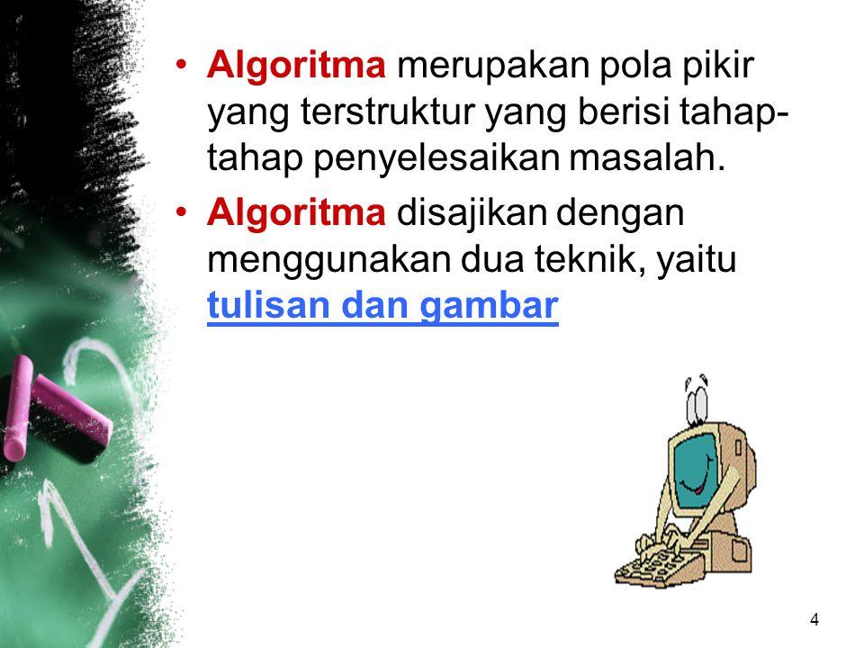 5 Penyajian algoritma Dalam bentuk tulisan, dengan menggunakan metode english structure dan pseudocode Dalam bentuk gambar, antara lain: –Structure chart –Hierarchy plus Input/Output –Flowchart