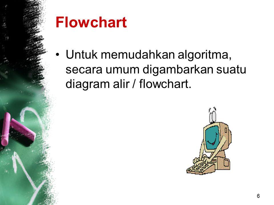 6 Flowchart Untuk memudahkan algoritma, secara umum digambarkan suatu diagram alir / flowchart.