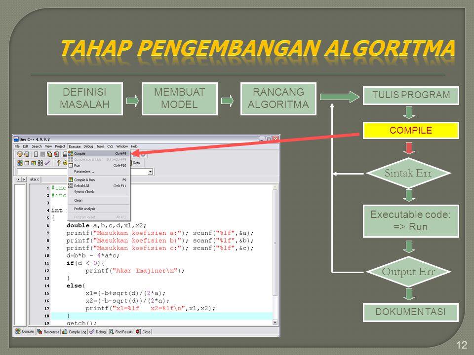 12 DEFINISI MASALAH MEMBUAT MODEL RANCANG ALGORITMA TULIS PROGRAM COMPILE Sintak Err Executable code: => Run Output Err DOKUMEN TASI