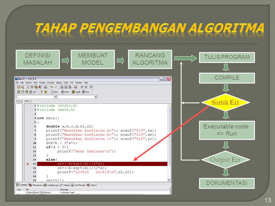 13 DEFINISI MASALAH MEMBUAT MODEL RANCANG ALGORITMA TULIS PROGRAM COMPILE Sintak Err Executable code: => Run Output Err DOKUMEN TASI