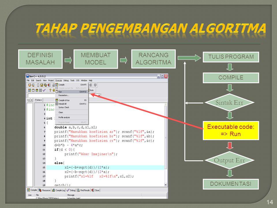 14 DEFINISI MASALAH MEMBUAT MODEL RANCANG ALGORITMA TULIS PROGRAM COMPILE Sintak Err Executable code: => Run Output Err DOKUMEN TASI