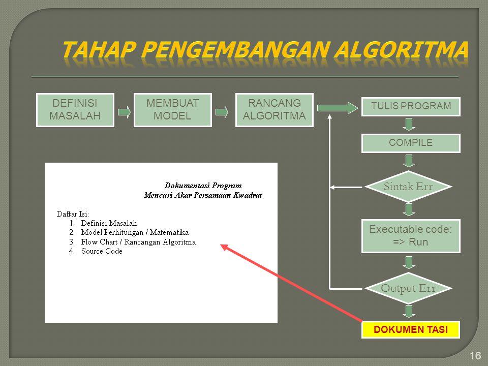 16 DEFINISI MASALAH MEMBUAT MODEL RANCANG ALGORITMA TULIS PROGRAM COMPILE Sintak Err Executable code: => Run Output Err DOKUMEN TASI