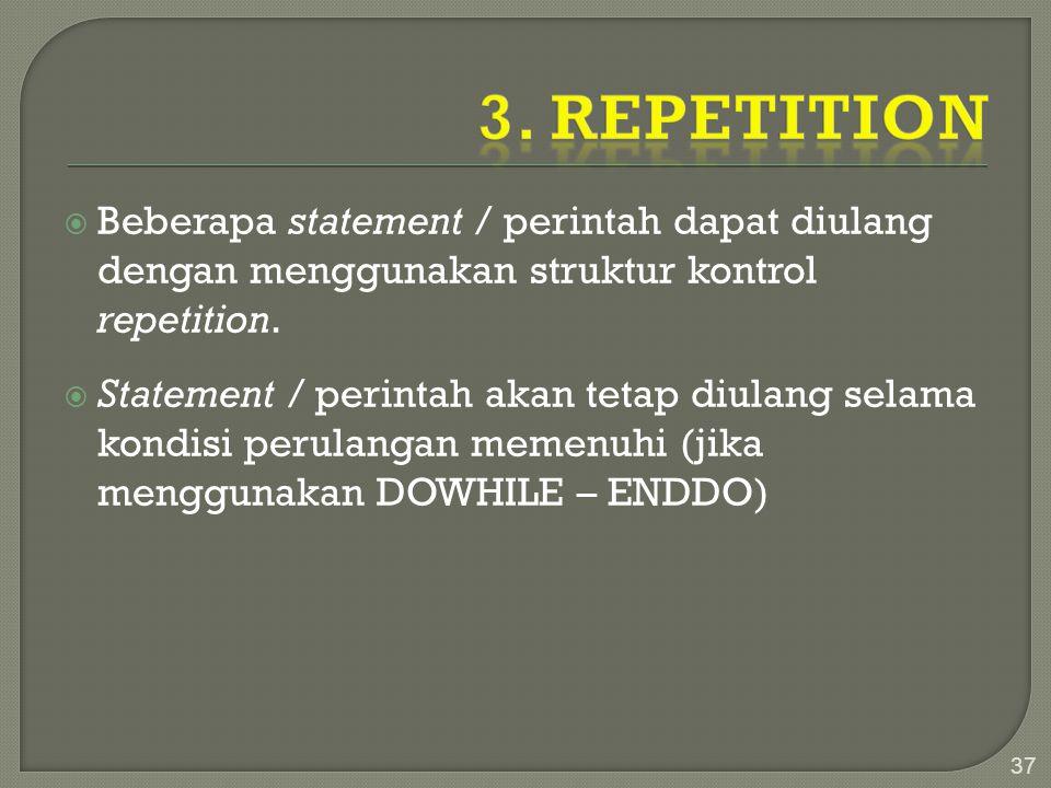  Beberapa statement / perintah dapat diulang dengan menggunakan struktur kontrol repetition.  Statement / perintah akan tetap diulang selama kondisi