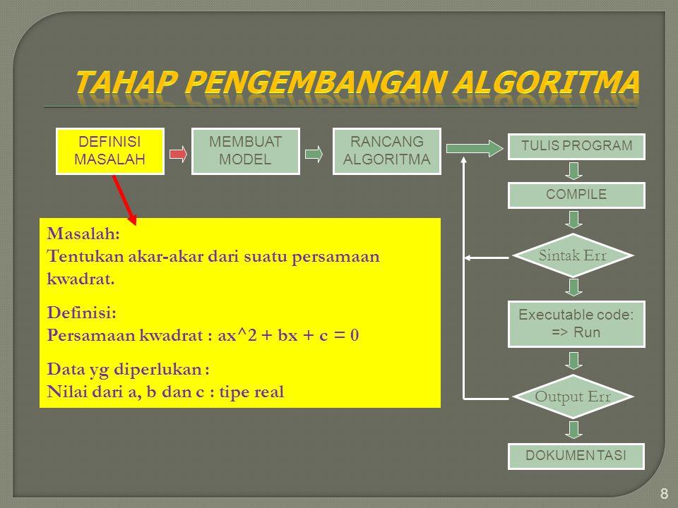 8 DEFINISI MASALAH MEMBUAT MODEL RANCANG ALGORITMA TULIS PROGRAM COMPILE Sintak Err Executable code: => Run Output Err DOKUMEN TASI Masalah: Tentukan