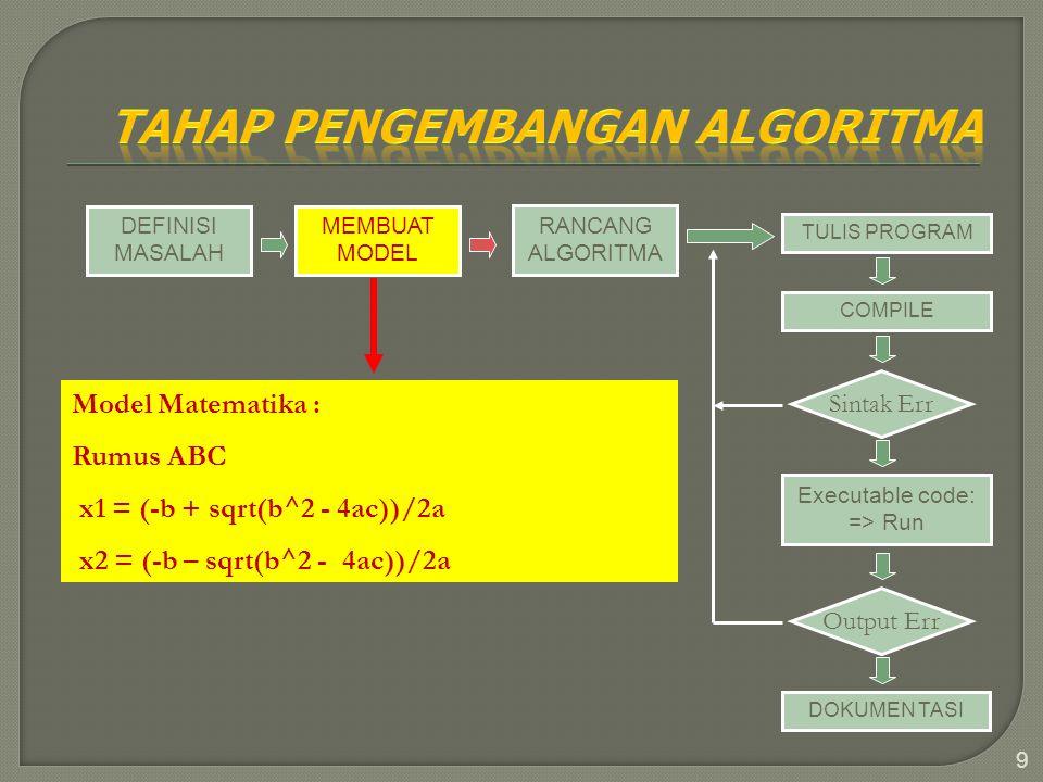 9 DEFINISI MASALAH MEMBUAT MODEL RANCANG ALGORITMA TULIS PROGRAM COMPILE Sintak Err Executable code: => Run Output Err DOKUMEN TASI Model Matematika :
