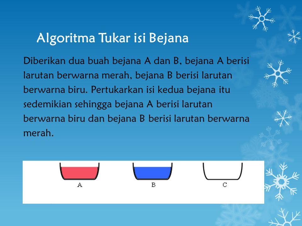 Algoritma Tukar isi Bejana Diberikan dua buah bejana A dan B, bejana A berisi larutan berwarna merah, bejana B berisi larutan berwarna biru. Pertukark