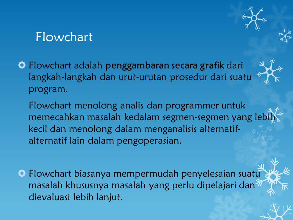 Flowchart  Flowchart adalah penggambaran secara grafik dari langkah-langkah dan urut-urutan prosedur dari suatu program. Flowchart menolong analis da