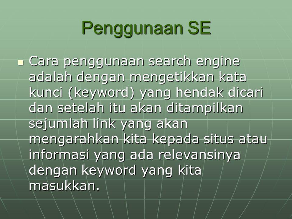 Penggunaan SE Cara penggunaan search engine adalah dengan mengetikkan kata kunci (keyword) yang hendak dicari dan setelah itu akan ditampilkan sejumla