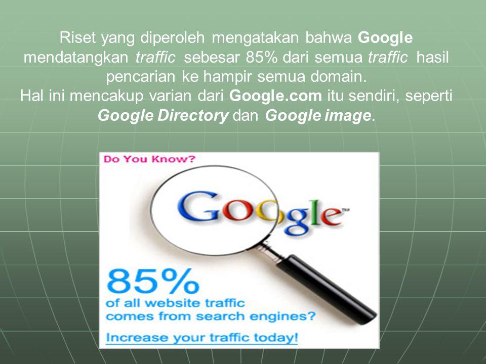 Riset yang diperoleh mengatakan bahwa Google mendatangkan traffic sebesar 85% dari semua traffic hasil pencarian ke hampir semua domain. Hal ini menca