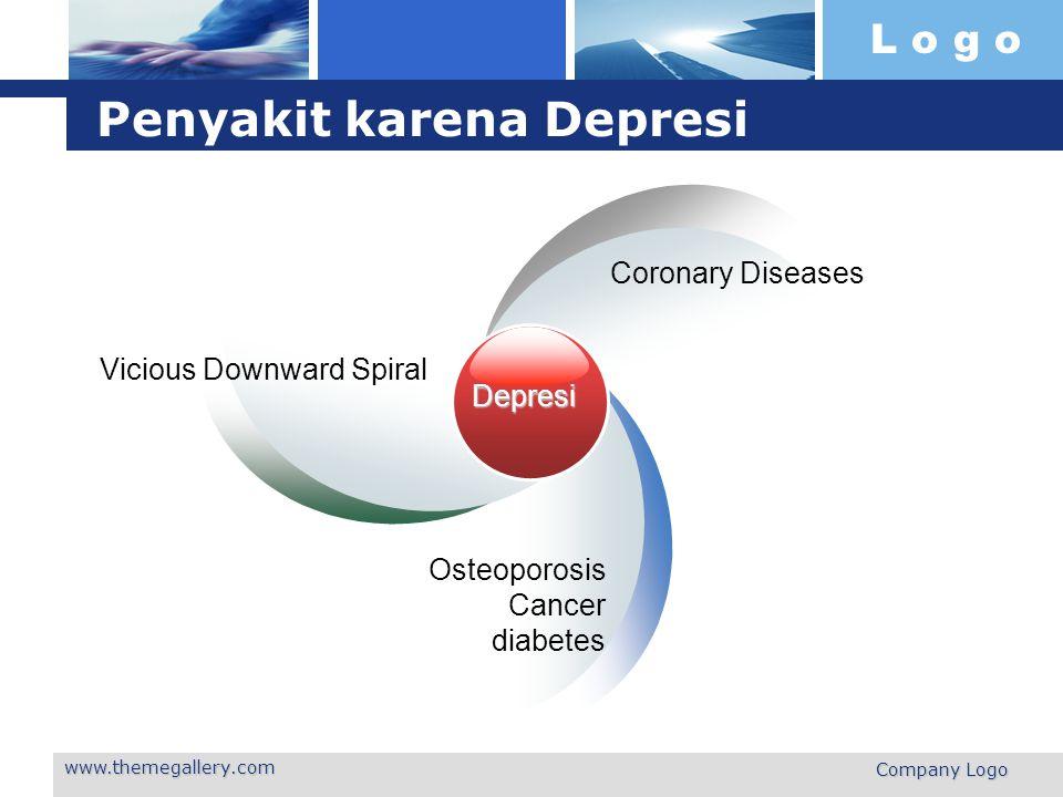 L o g o www.themegallery.com Company Logo Penyakit karena Depresi Depresi Vicious Downward Spiral Coronary Diseases Osteoporosis Cancer diabetes