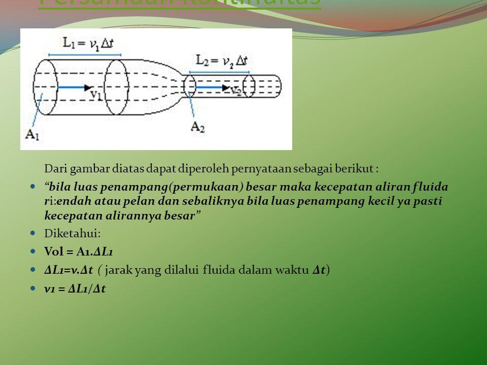 "Persamaan Kontinuitas Dari gambar diatas dapat diperoleh pernyataan sebagai berikut : ""bila luas penampang(permukaan) besar maka kecepatan aliran flui"