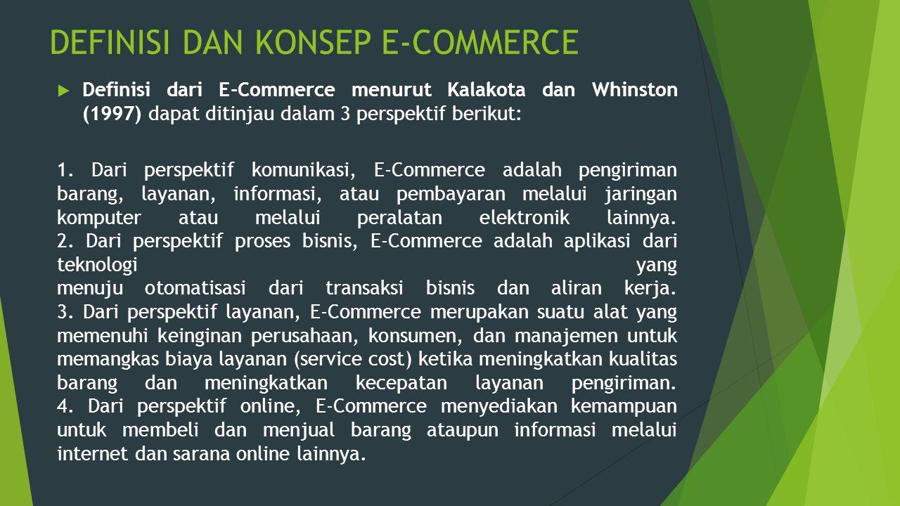 DEFINISI DAN KONSEP E-COMMERCE  Definisi dari E-Commerce menurut Kalakota dan Whinston (1997) dapat ditinjau dalam 3 perspektif berikut: 1. Dari pers