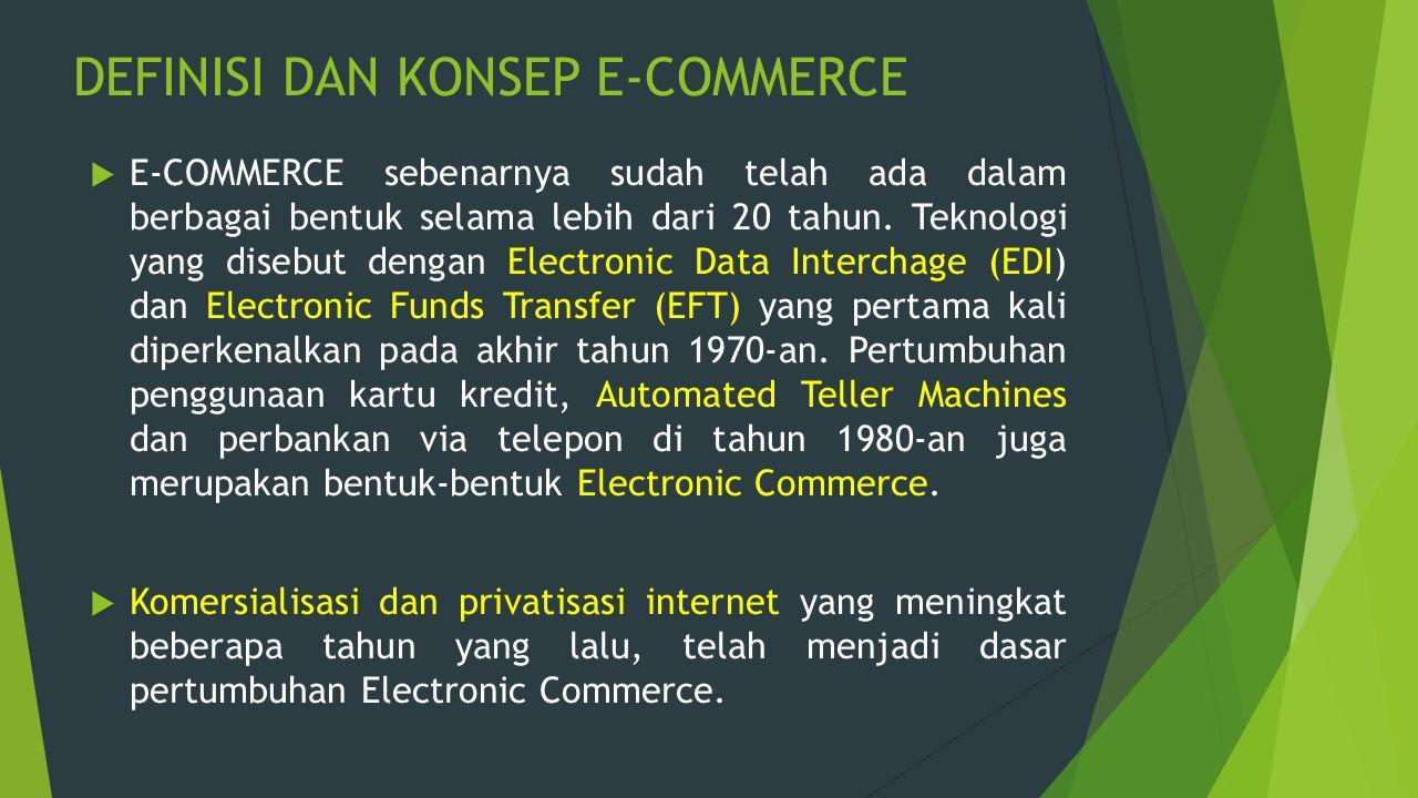 DEFINISI DAN KONSEP E-COMMERCE  E-COMMERCE sebenarnya sudah telah ada dalam berbagai bentuk selama lebih dari 20 tahun. Teknologi yang disebut dengan