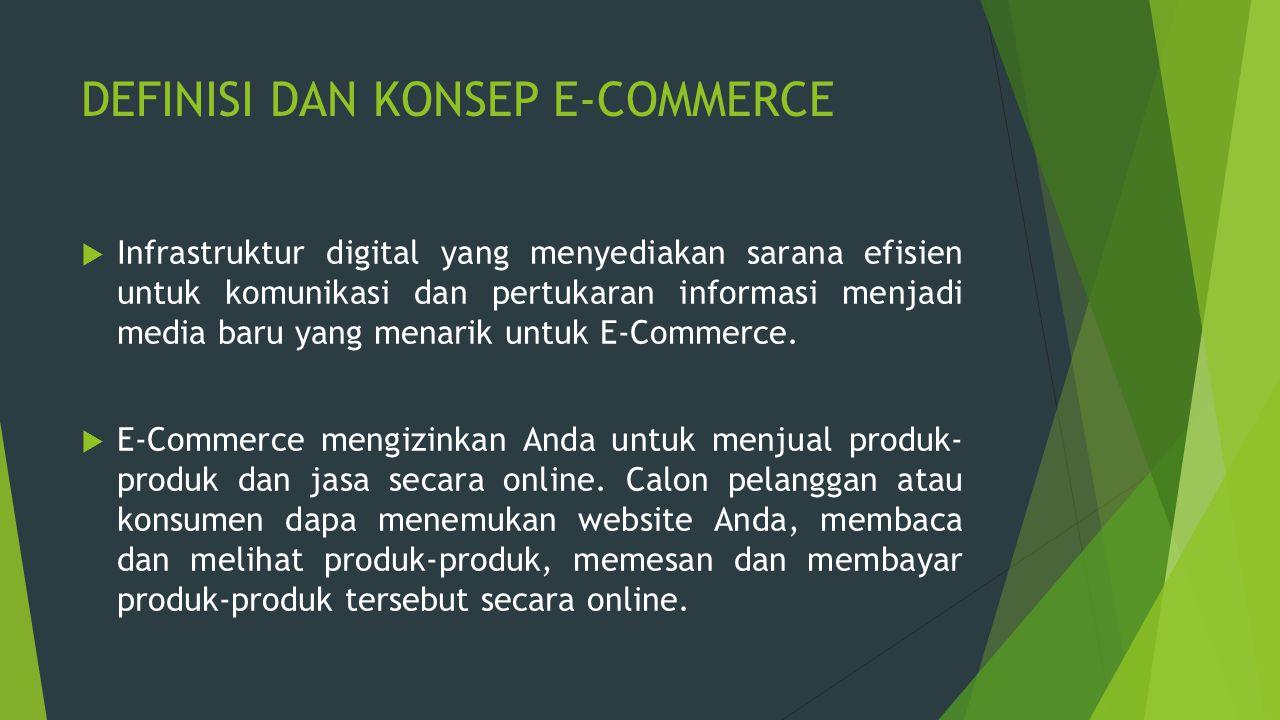 DEFINISI DAN KONSEP E-COMMERCE  Infrastruktur digital yang menyediakan sarana efisien untuk komunikasi dan pertukaran informasi menjadi media baru ya