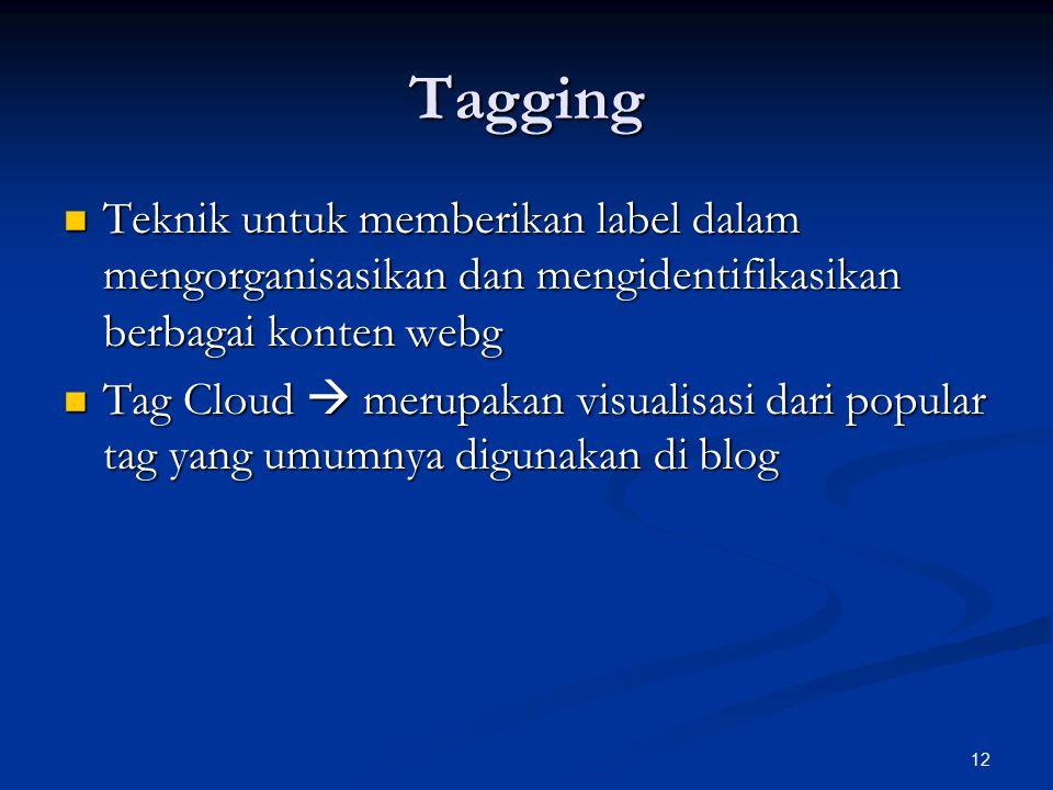 12 Tagging Teknik untuk memberikan label dalam mengorganisasikan dan mengidentifikasikan berbagai konten webg Teknik untuk memberikan label dalam mengorganisasikan dan mengidentifikasikan berbagai konten webg Tag Cloud  merupakan visualisasi dari popular tag yang umumnya digunakan di blog Tag Cloud  merupakan visualisasi dari popular tag yang umumnya digunakan di blog