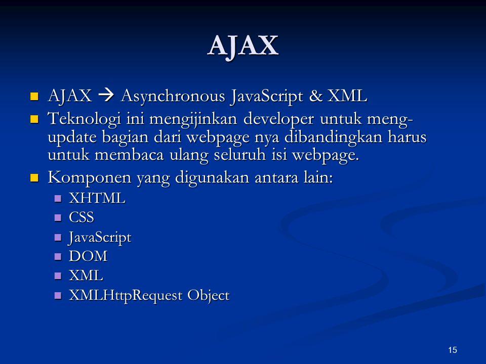 15 AJAX AJAX  Asynchronous JavaScript & XML AJAX  Asynchronous JavaScript & XML Teknologi ini mengijinkan developer untuk meng- update bagian dari webpage nya dibandingkan harus untuk membaca ulang seluruh isi webpage.