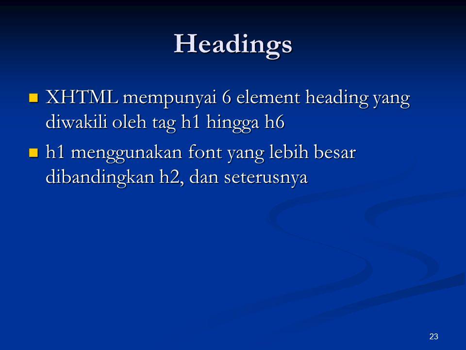 23 Headings XHTML mempunyai 6 element heading yang diwakili oleh tag h1 hingga h6 XHTML mempunyai 6 element heading yang diwakili oleh tag h1 hingga h6 h1 menggunakan font yang lebih besar dibandingkan h2, dan seterusnya h1 menggunakan font yang lebih besar dibandingkan h2, dan seterusnya