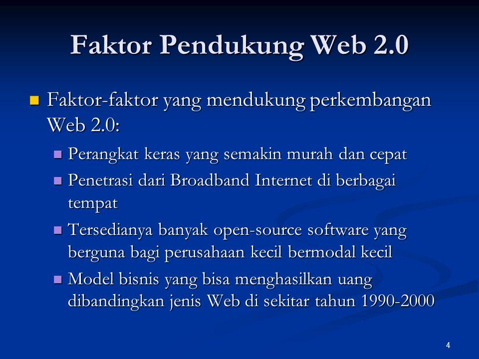 4 Faktor Pendukung Web 2.0 Faktor-faktor yang mendukung perkembangan Web 2.0: Faktor-faktor yang mendukung perkembangan Web 2.0: Perangkat keras yang semakin murah dan cepat Perangkat keras yang semakin murah dan cepat Penetrasi dari Broadband Internet di berbagai tempat Penetrasi dari Broadband Internet di berbagai tempat Tersedianya banyak open-source software yang berguna bagi perusahaan kecil bermodal kecil Tersedianya banyak open-source software yang berguna bagi perusahaan kecil bermodal kecil Model bisnis yang bisa menghasilkan uang dibandingkan jenis Web di sekitar tahun 1990-2000 Model bisnis yang bisa menghasilkan uang dibandingkan jenis Web di sekitar tahun 1990-2000