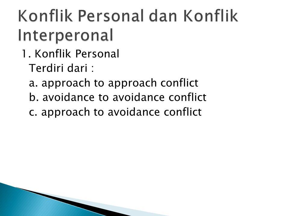 1. Konflik Personal Terdiri dari : a. approach to approach conflict b. avoidance to avoidance conflict c. approach to avoidance conflict