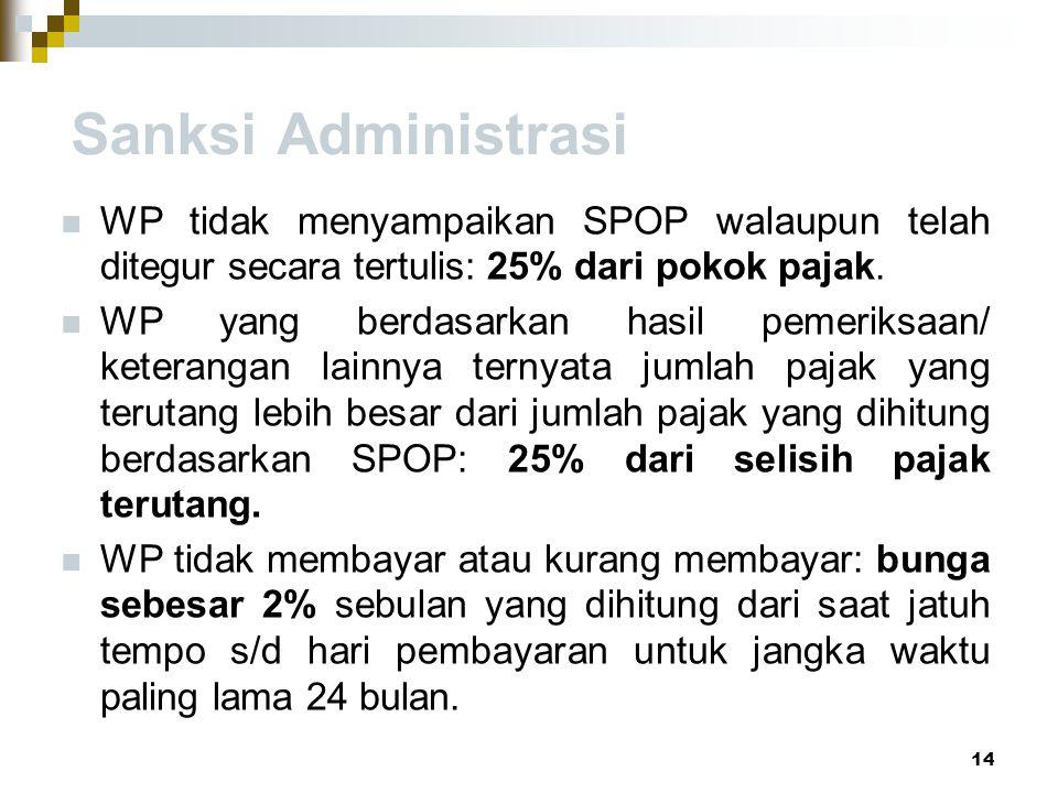 Sanksi Administrasi WP tidak menyampaikan SPOP walaupun telah ditegur secara tertulis: 25% dari pokok pajak. WP yang berdasarkan hasil pemeriksaan/ ke