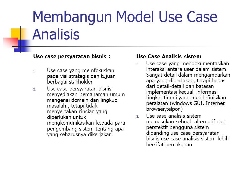 Membangun Model Use Case Analisis Use case persyaratan bisnis : 1. Use case yang memfokuskan pada visi strategis dan tujuan berbagai stakholder 2. Use