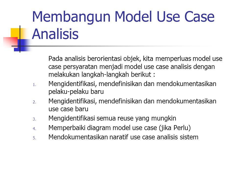 Membangun Model Use Case Analisis Pada analisis berorientasi objek, kita memperluas model use case persyaratan menjadi model use case analisis dengan