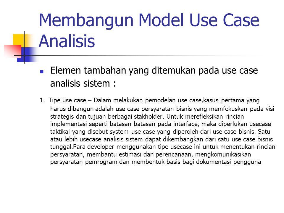 Membangun Model Use Case Analisis Elemen tambahan yang ditemukan pada use case analisis sistem : 1. Tipe use case – Dalam melakukan pemodelan use case