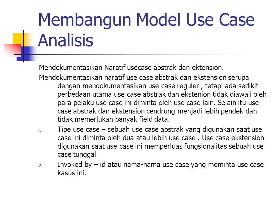 Membangun Model Use Case Analisis Mendokumentasikan Naratif usecase abstrak dan ektension. Mendokumentasikan naratif use case abstrak dan ekstension s