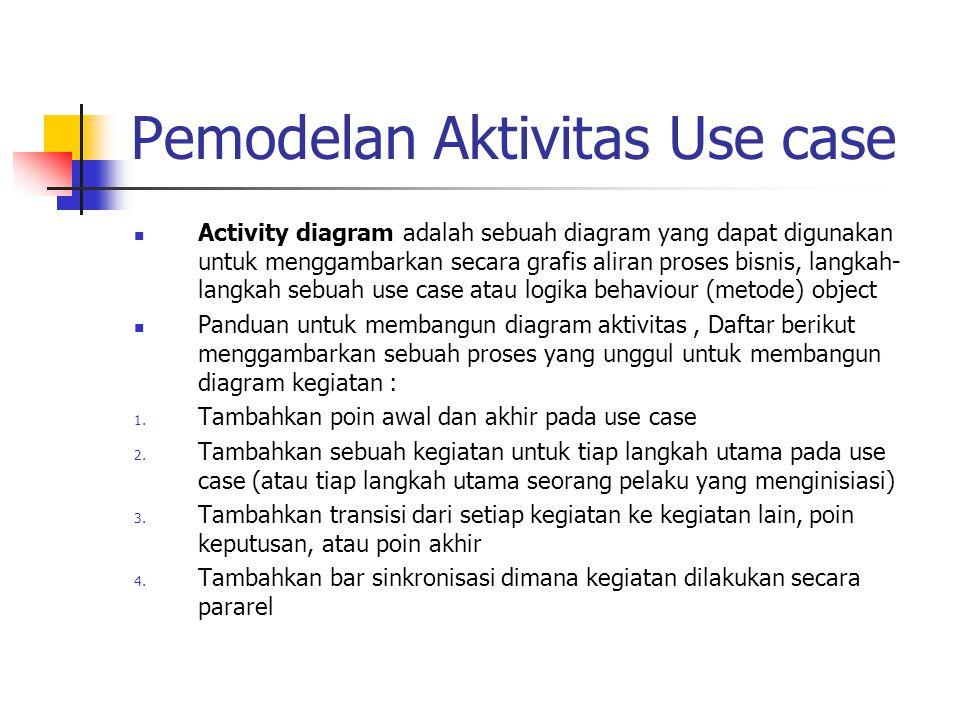 Pemodelan Aktivitas Use case Activity diagram adalah sebuah diagram yang dapat digunakan untuk menggambarkan secara grafis aliran proses bisnis, langk