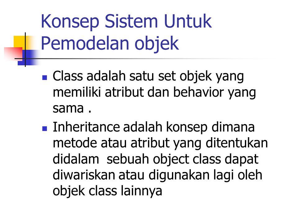 Konsep Sistem Untuk Pemodelan objek Class adalah satu set objek yang memiliki atribut dan behavior yang sama. Inheritance adalah konsep dimana metode